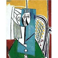 """Picasso """"Woman In White Buttoned Green Top"""""""