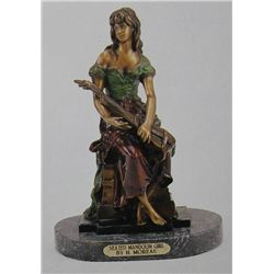 """Seated Mandolin Girl"" Bronze Sculpture - A. Moreau"