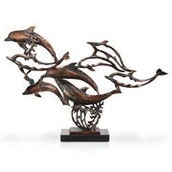 Dolphin School Cast Iron Sculpture