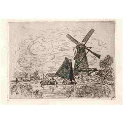 "Jongkind Original Etching ""Near Rotterdam"""