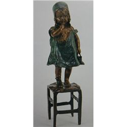 """Standing Girl On Chair"" Bronze Sculpture - Clara"
