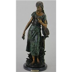 Standing Mandolin Woman  Bronze Sculpture  - A. Moreau