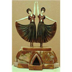 "Chiparus - ""Dolly Sisters"" -Bronze And Ivory Sculpture"