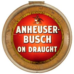 Anheuser Busch Reverse Painted Glass Sign