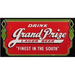 Grand Prize Beer Double Sided Porcelain Sign