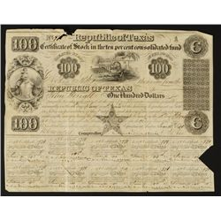 Republic of Texas Certificate of Stock