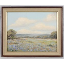 Pedro Lazcano Texas Bluebonnet Oil Painting