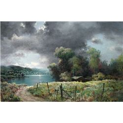 A.D. Greer Moonlight On A Texas Lake Oil Painting