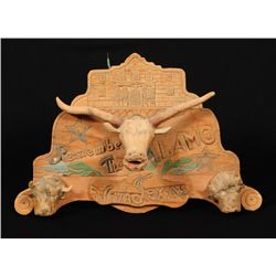 Remember The Alamo Texas Folk Art Carving