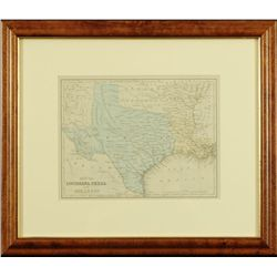 Texas Louisiana & Arkansas Hand Tinted Map