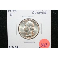 1945-D Washington Quarter, BU