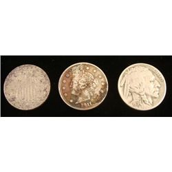 3 Diff Nickels 1867 Shield, 1911 V Nickel, 1936 Buffalo