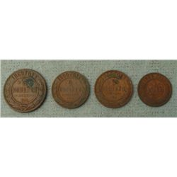 3 Turn of Century Russian Coins 5, 2, 1 Kopek 1869-1907