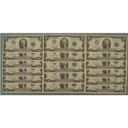 17 CU Consecutive # 2003-A $2 Bills Philadelphia Notes