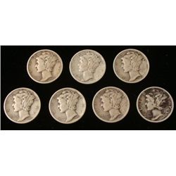 7 Mixed Dates Mercury Silver Dimes 1937-1945