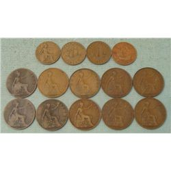 Great Britain 1 Lot Early Half & Large Cents 1896-1959