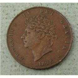 Great Britain 1826 Half Cent XF+ Very Nice Coin