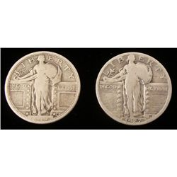 2 1927 Standing Liberty Silver Quarters