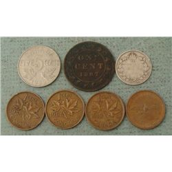 Lot of 7 Canadian Coins Cents, 5C, 10C Silver 1887-1919