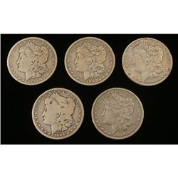 5 Diff Date New Orleans Morgan Silver Dollars 1886-1900