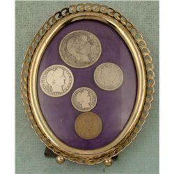 5 Coin 1912 Type Set Barber, Lincoln in Antique Frame