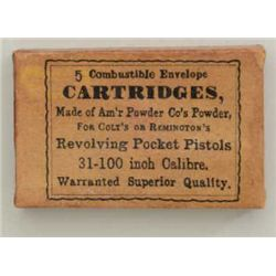 Box of skin cartridges, .31 cal. marked, made  of American powder for Colts or Remingtons;  unopened