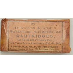 "Pack of skin cartridges, 6-count, marked  ""Johnson & Dow's, .46-100 cal., with  percussion caps, for"