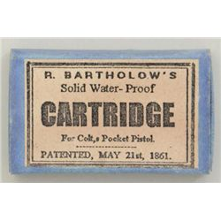 Rare matchbox-type skin cartridges by R.  Bartholow's , marked for Colt's Pocket  Pistol, patented M