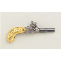 High quality micro-miniature single shot muff  pistol style percussion pistol with nicely  engraved