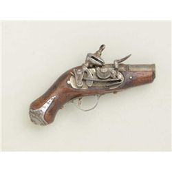 Antique miniature Spanish Miquelet flintlock  fully functioning miniature pistol with  barrel engrav