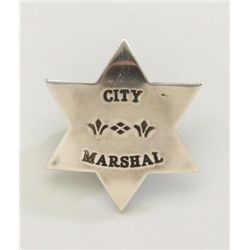 Simple 6-pointed star badge with pin back  shows City Marshal on front, authentic to the  1880-1910