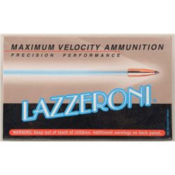 One box of 20 Lazzeroni precision performance  7.82 (.308) Patriot caliber cartridges;  3,103 FPS wi