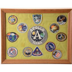 Great framed collection of 12 NASA Apollo  Space Mission patches commemorating 12  different flights