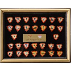 Framed set of 30 Limited Edition Hunt-Wesson  U.S. Olympic Team Commemorative pins from the  1988 Se