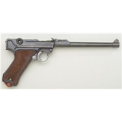 Artillery Luger by D.W.M. dated 1917, serial  #3089.  The metal surfaces show 30-50% blue  with some