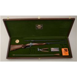 Wood presentation cased Lyman single shot  Centennial Model rifle by Ruger (No 1 Model),  .45-70 cal