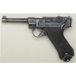 A  Black Widow  Luger pistol dated 41 on  breech by Mauser with BYF code on toggle, in  near fine or