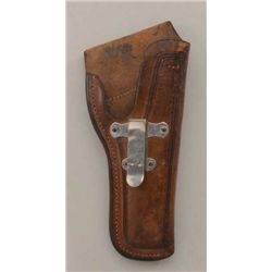 Tooled leather clip holster for a 1911  semi-auto pistol by S.D. Myres, El Paso, Tex.  in overall ve