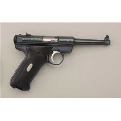 "Ruger MK II semi-auto pistol, .22LR cal., 6""  barrel, blue finish, smooth wood grips with  small sil"
