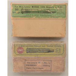 Antique collector's lot of ammo including a  wrapped box of Winchester .40-72 cartridges  in a green