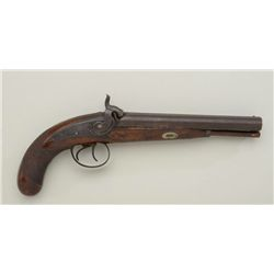 "Percussion SxS back action lock pistol by  Henry Elwell, .60 cal., 8"" barrels, checkered  wood grip"