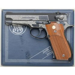 "Smith & Wesson Model 39-2 DA semi-auto  pistol, non-factory engraved, 9mm cal., 4""  barrel, blue fin"