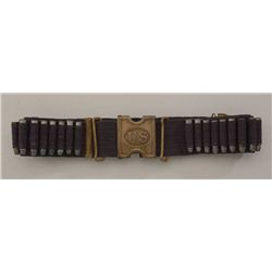 "Woven blue Mills cartridge belt with ""US""  brass square buckle in overall good condition  with vario"