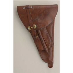 WW II-era Swedish Lahti Model 40 leather  military flap holster in overall very good  condition with