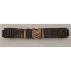 "Woven blue Mills cartridge belt with ""Old  Reliable"" brass square buckle in overall good  condition;"