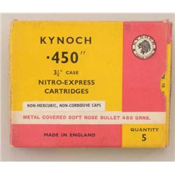"Lot of 15 Boxes of Kynoch .450 3-1/4"" case  Nitro-Express cartridges (5 per box) in  overall good co"