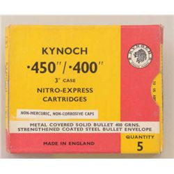"Lot of 10 Boxes of Kynoch .450/.400 3"" case  Nitro-Express cartridges (5 per box) in  overall very g"