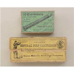 Lot of two wrapped boxes of antique  collector's ammo including a yellow box of  Union Metallic Cart