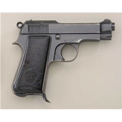 "Beretta Model 1934 semi-auto pistol, 7.65mm  cal., 3-1/2"" barrel, blue finish, black hard  rubber gr"