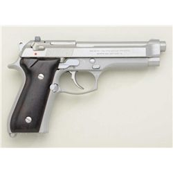 "Beretta  Model 92 FS DA semi-auto pistol, 9mm  cal., 5"" barrel, stainless steel, no  magazine, wood"